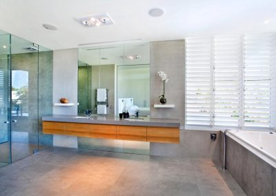 Altair Louvre Windows with aluminium blades provide privacy and ventilation in bathrooms