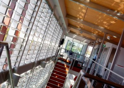 Floor to ceiling feature windows are great for adding impact to any building design